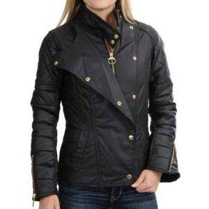 NWT Barbour Waxed Axel Black Streak Moto Jacket